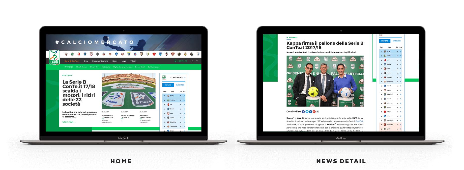 Lega B - redesign sito web